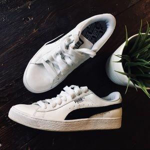 PUMA BASKET White Black Sneakers Women's 8.5 EUC